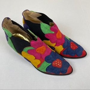 Vintage Zalo floral leather patch ankle boots 5.5M